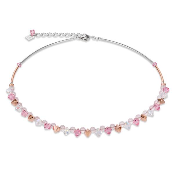 Halskette Swarovski® Kristalle & Rosenquarz hellrosa
