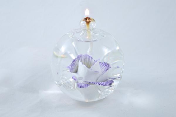 Öllampe mit lila-weiß Wildrose
