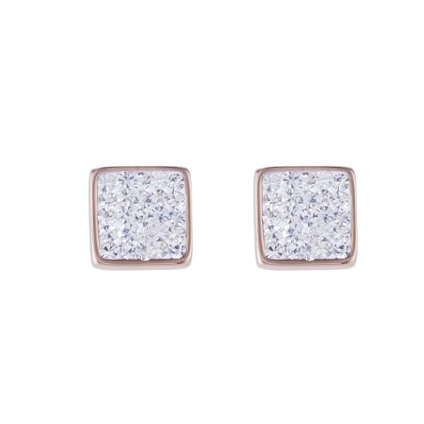 Ohrringe Edelstahl rosegold & Kristalle Pavé kristall