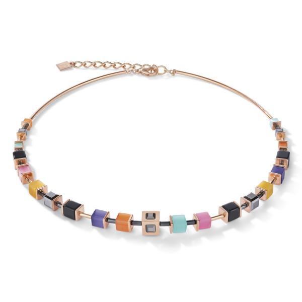 Halskette GeoCUBE® Cube Edelstahl roségold & Kristall multicolor couture 5050_10-1575