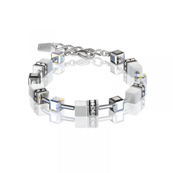 GeoCUBE® Armband silber & weiß
