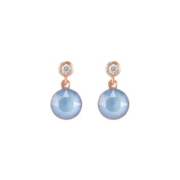 Ohrringe Swarovski® Kristalle & Edelstahl roségold hellblau