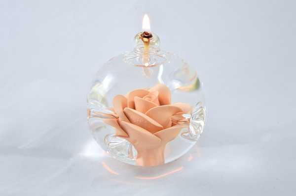 Öllampe mit apricot Rose
