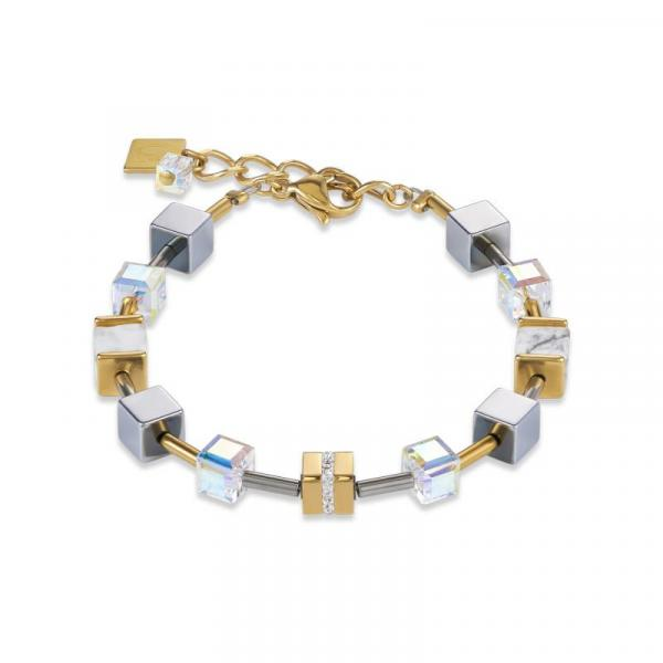 Armband GeoCUBE® Edelstahl & Kristall Pavé, Swarovski® Kristalle & Howlith gold-weiß 4965_30-1614