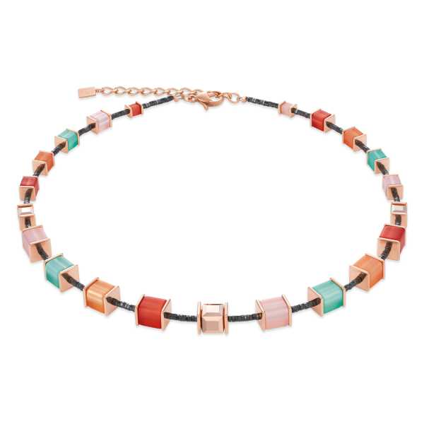 Halskette GeoCUBE® Swarovski® Kristalle & Polaris koralle-mintgrün