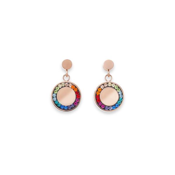 Ohrringe Edelstahl Disk roségold & Kristall Pavé multicolor