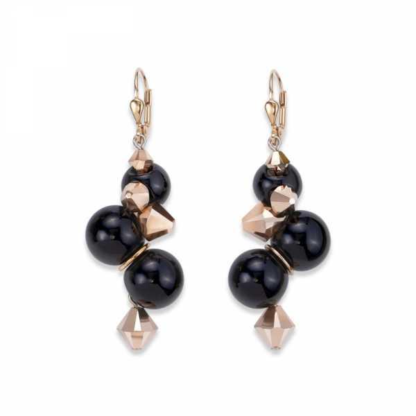 Ohrringe Acrylglas schwarz & Swarovski® Kristalle roségold